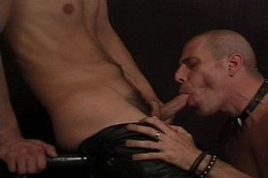 Awesomeinterracial.com- Bald Leather Daddy Getting Pounded